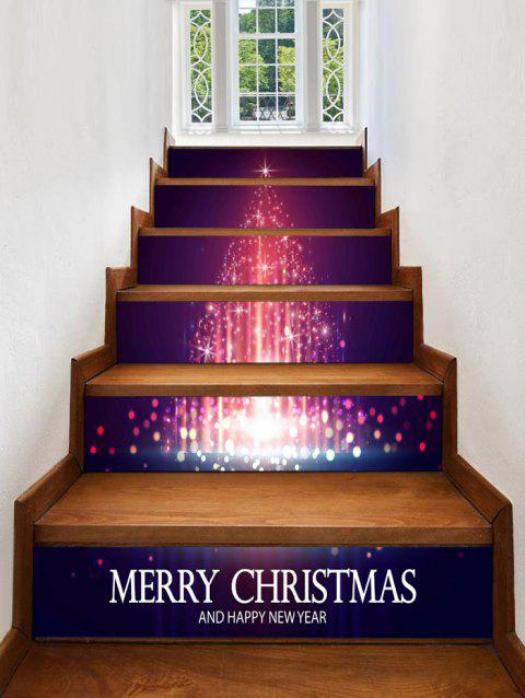 Christmas Star Tree Pattern Decorative Stair Stickers - multicolor 6PCS X 39 X 7 INCH( NO FRAME )