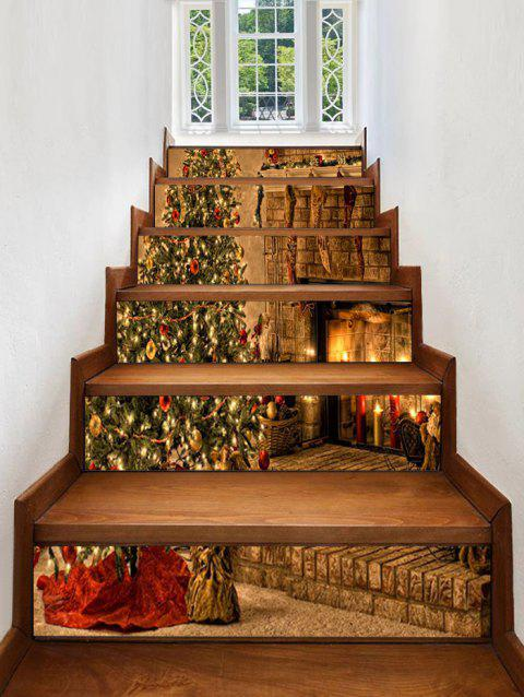 Christmas Tree Fireplace Pattern Decorative Stair Stickers - multicolor 6PCS X 39 X 7 INCH( NO FRAME )