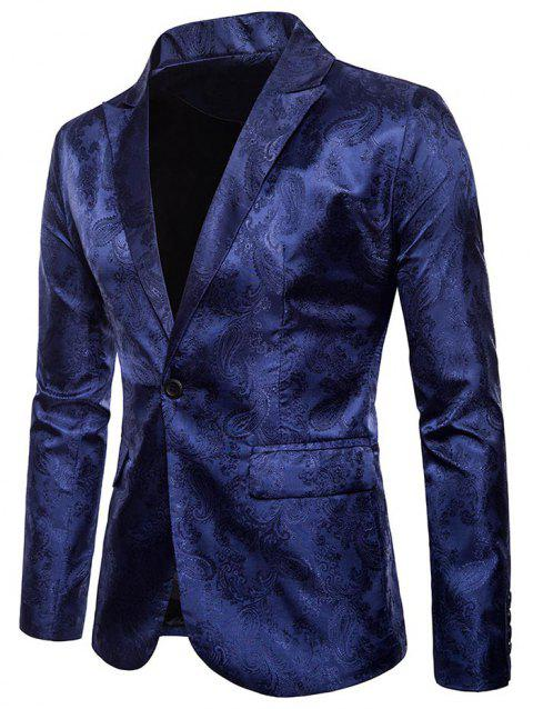 Florals Jacquard Lapel One Button Blazer - CADETBLUE L