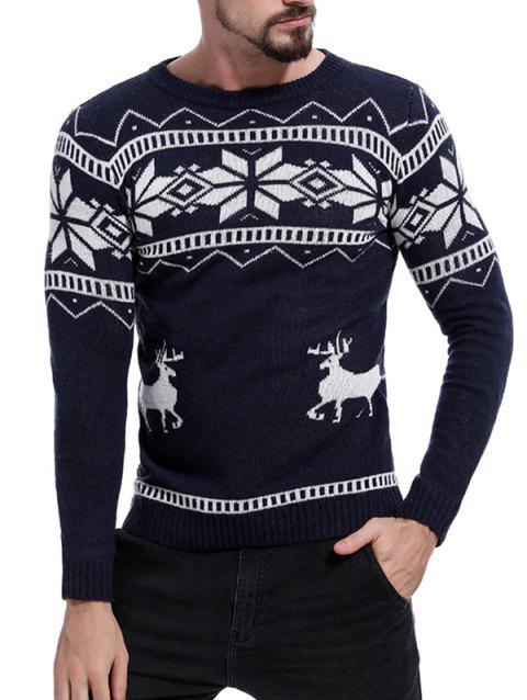 Christmas Deer Pattern Pullover Sweater - MIDNIGHT BLUE M