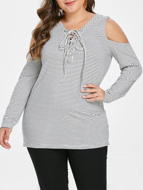 Plus Size Cold Shoulder Lace Up T Shirt - multicolor 3X