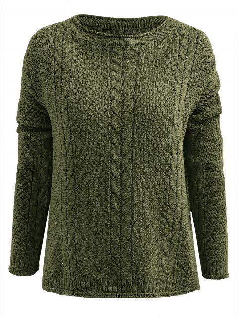Cable Knit Slit Pullover Sweater - GREEN ONE SIZE