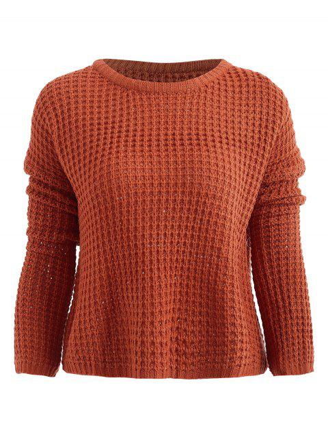 Plain Drop Shoulder Pullover Sweater - CHERRY RED ONE SIZE