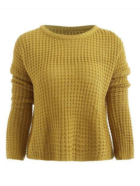 Plain Drop Shoulder Pullover Sweater - YELLOW ONE SIZE