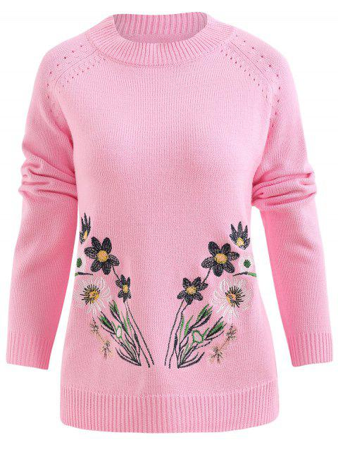 Floral Embroidery Knit Sweater - LIGHT PINK XL