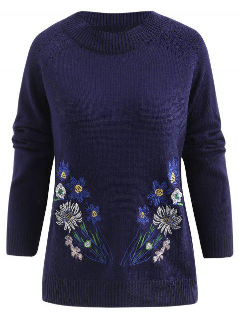Floral Embroidery Knit Sweater - DEEP BLUE XL