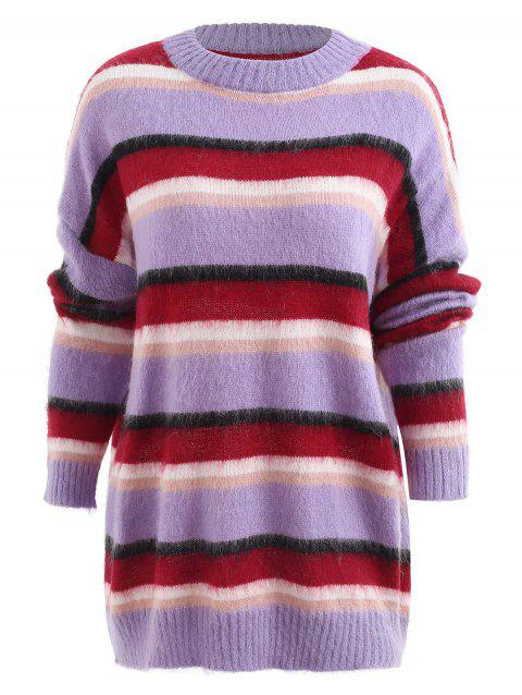 Striped Fluffy Tunic Sweater - multicolor ONE SIZE