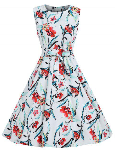 Sleeveless Belted Flower Sewing Dress - multicolor M
