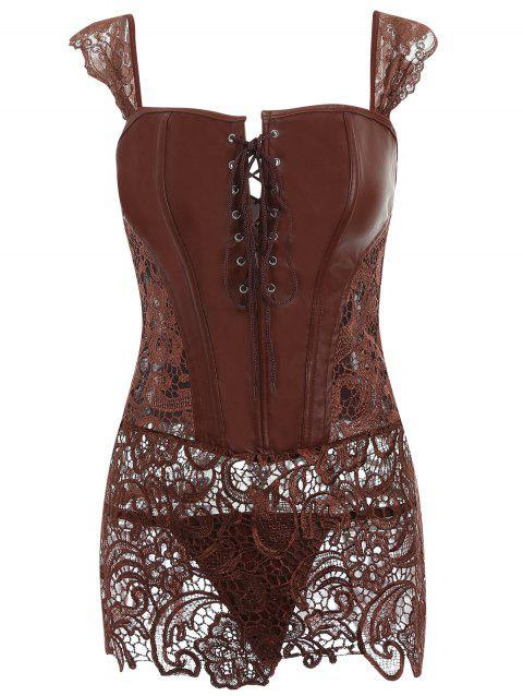 Lace Panel Zip Back Sleeveless Corset - BROWN S