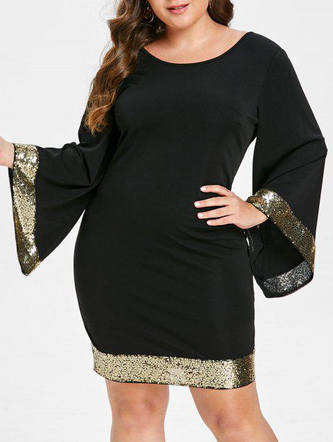 Flare Sleeve Sequins Plus Size Dress - BLACK 3X