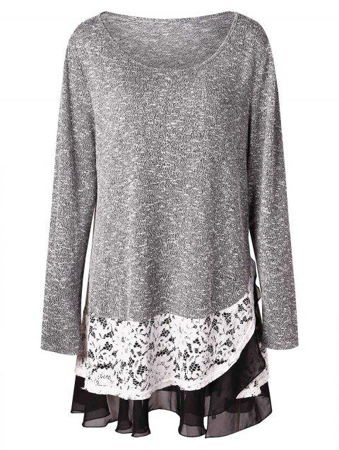 Plus Size Lace Trim Tunic Knitwear - GRAY CLOUD 3X