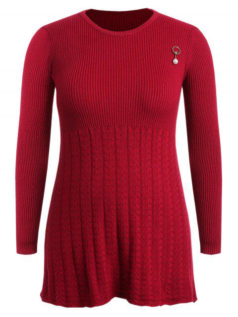 ccd92c02daa 68% OFF  2019 Plus Size Long Sleeve Ribbed Sweater Dress In RED ...
