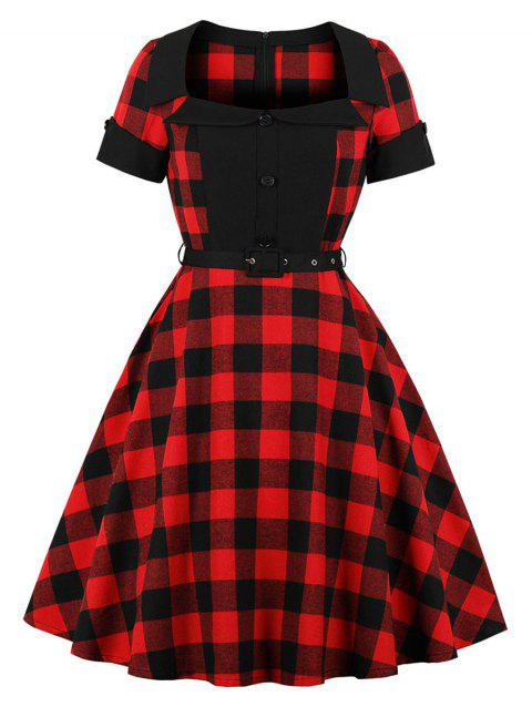 Retro Tartan Fit and Flare Dress - multicolor XL