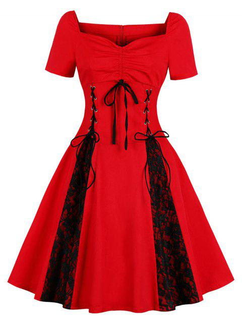 Retro Lace Up Ruched Flare Dress - RUBY RED L