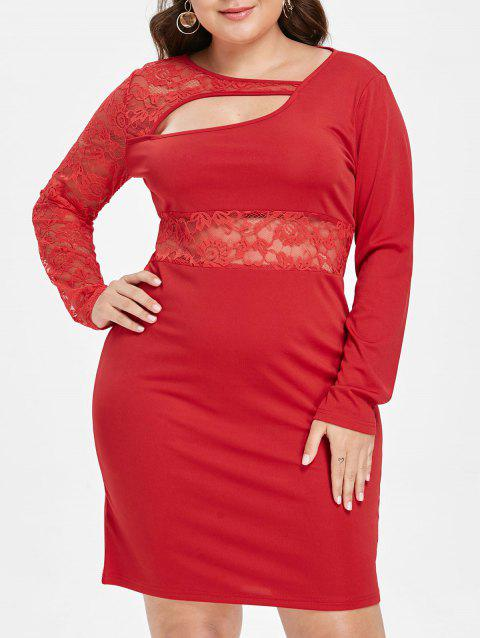 Plus Size Lace Panel Cutout Bodycon Dress - RED 5X