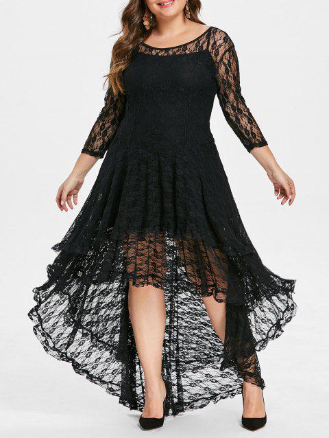 Plus Size High Low Lace Dress with Cami Dress - BLACK 3X