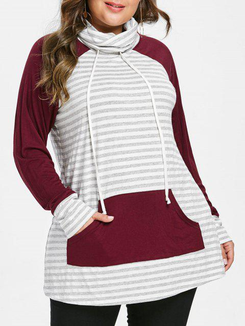 Color Block Striped Plus Size Hoodie - GRAY GOOSE 2X
