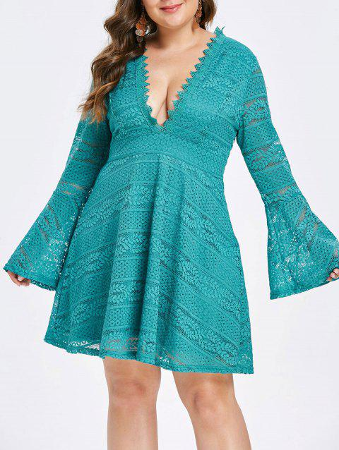 Plus Size Low Cut Bell Sleeve Lace Dress - TURQUOISE 1X