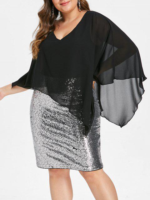 Plus Size Overlay Sequined Bodycon Dress - BLACK L