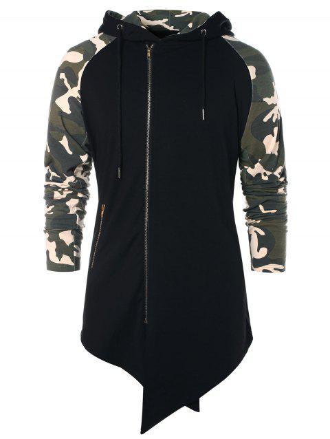 Asymmetric Camo Panel Zip Up Hoodie - BLACK L