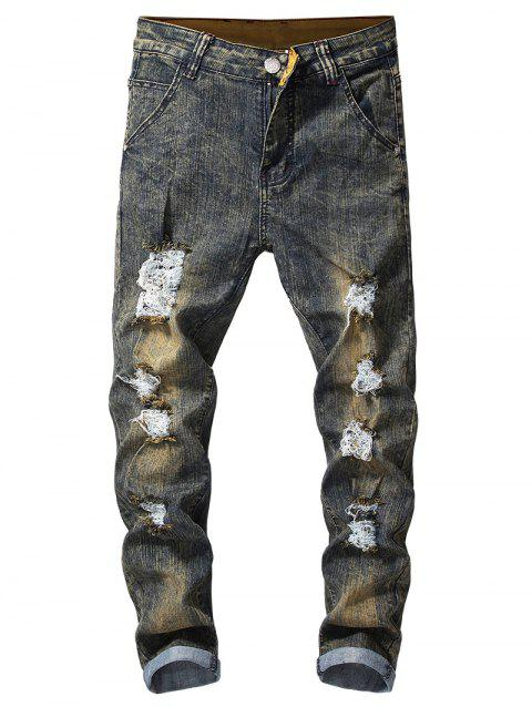 Vintage Ripped Faded Jeans - VANILLA 34