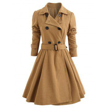 Belt Long Sleeve Winter Coat For Women
