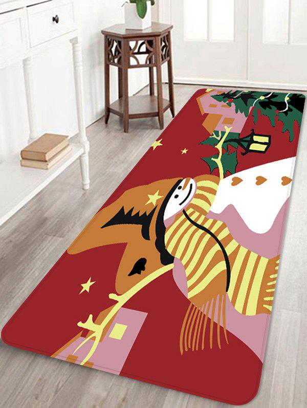 Christmas Snowman Star Printed Non-slip Area Rug - RED W16 X L47 INCH