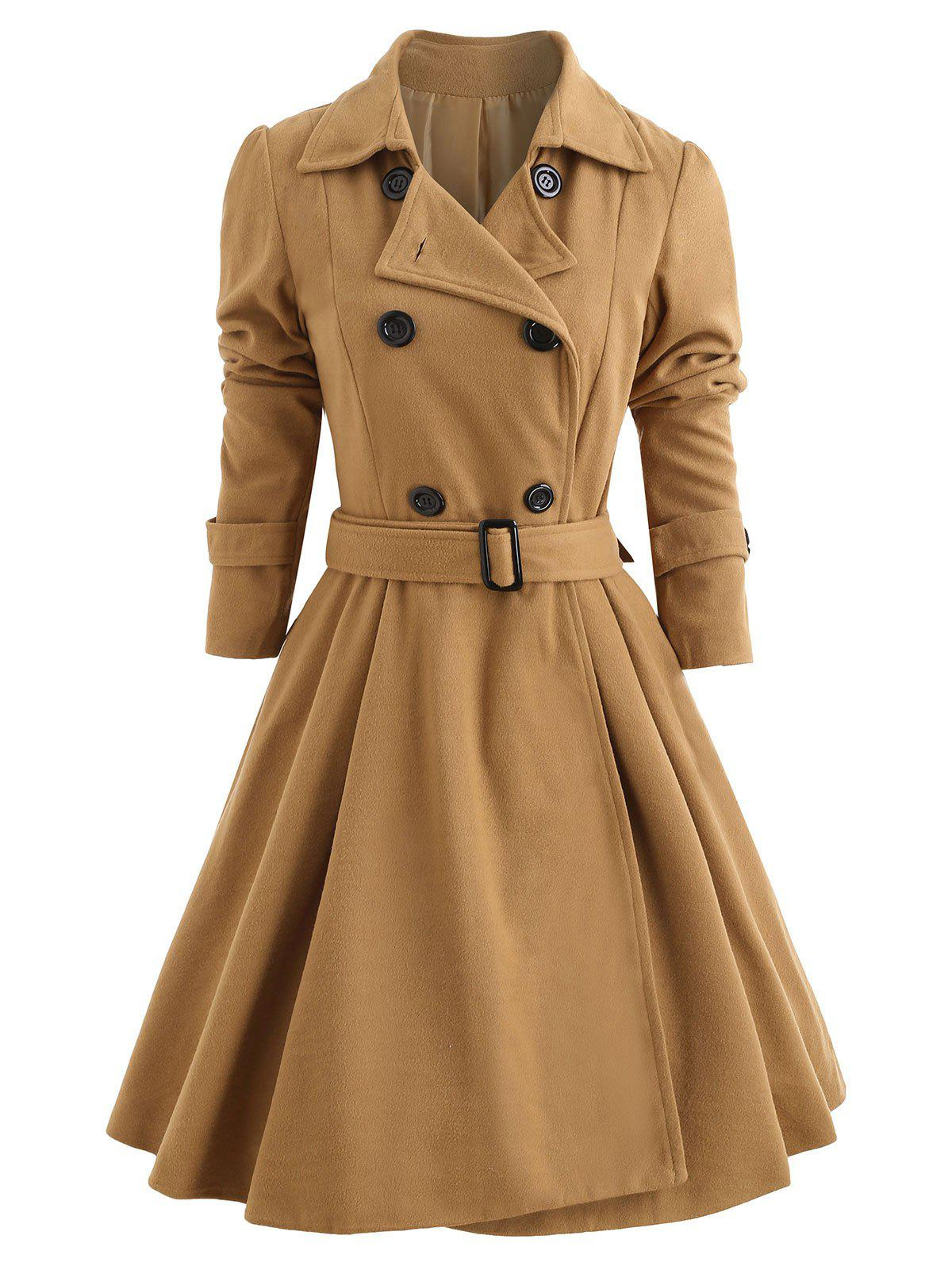 Double Breasted Fit and Flare Wool Coat - KHAKI M