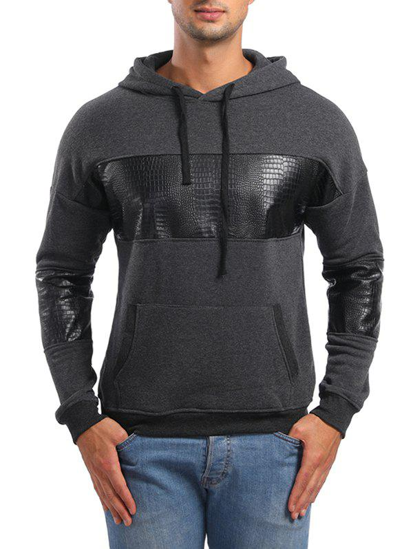 PU Leather Spliced Pullover Hoodie - CLOUDY GRAY L