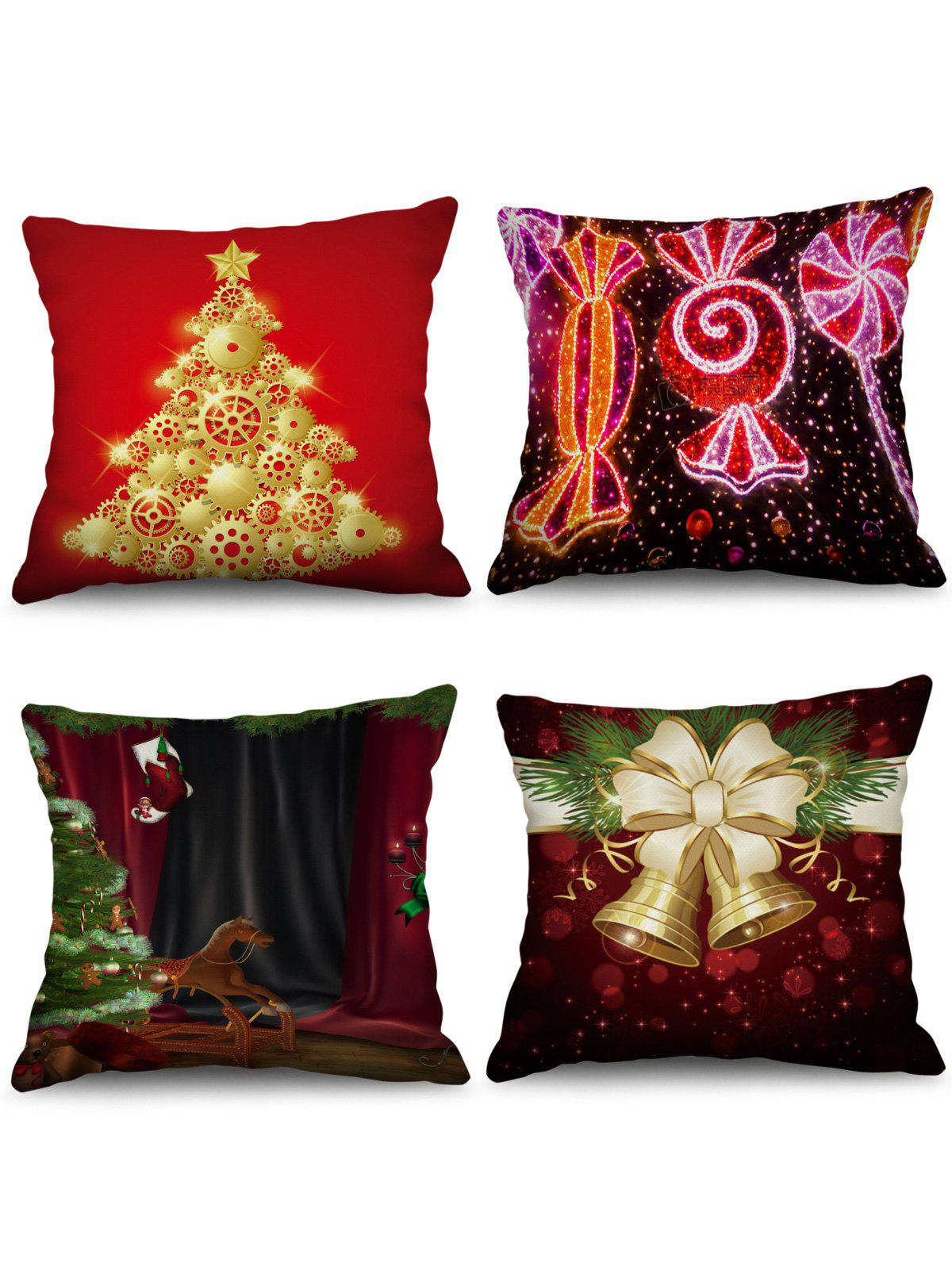 4PCS Christmas Tree Bells Printed Pillowcases - multicolor W18 X L18 INCH