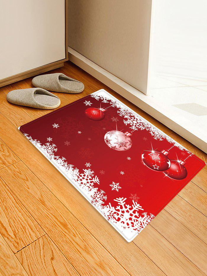 Christmas Balls Snowflake Pattern Anti-skid Water Absorption Area Rug - RED W16 X L24 INCH