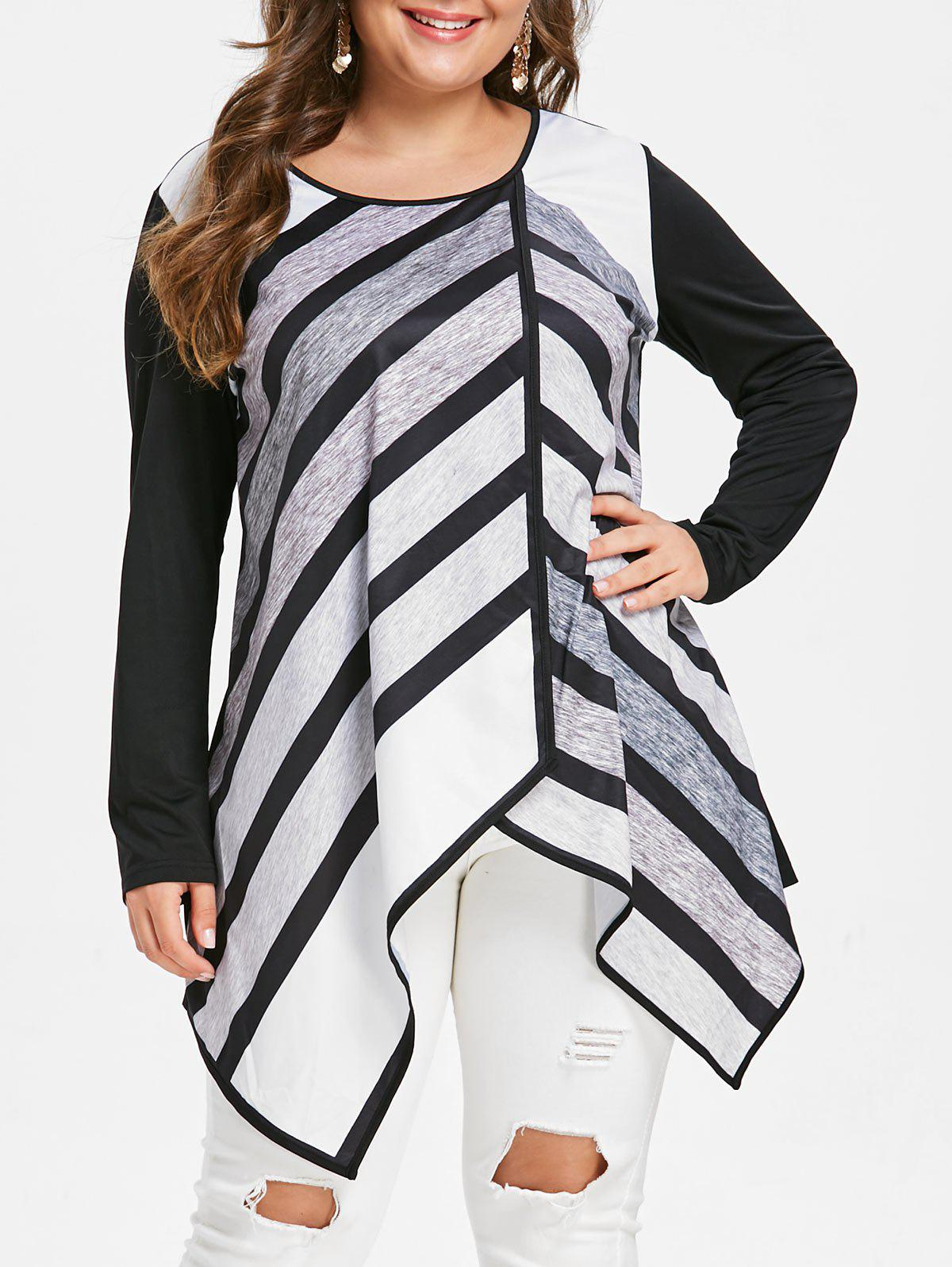Striped Plus Size Long Sleeve Tunic Top