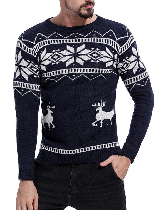 Christmas Deer Pattern Pullover Sweater - MIDNIGHT BLUE XL