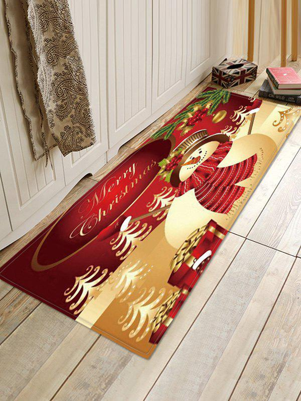 Christmas Snowman Gifts Pattern Anti-skid Water Absorption Area Rug - multicolor W16 X L47 INCH