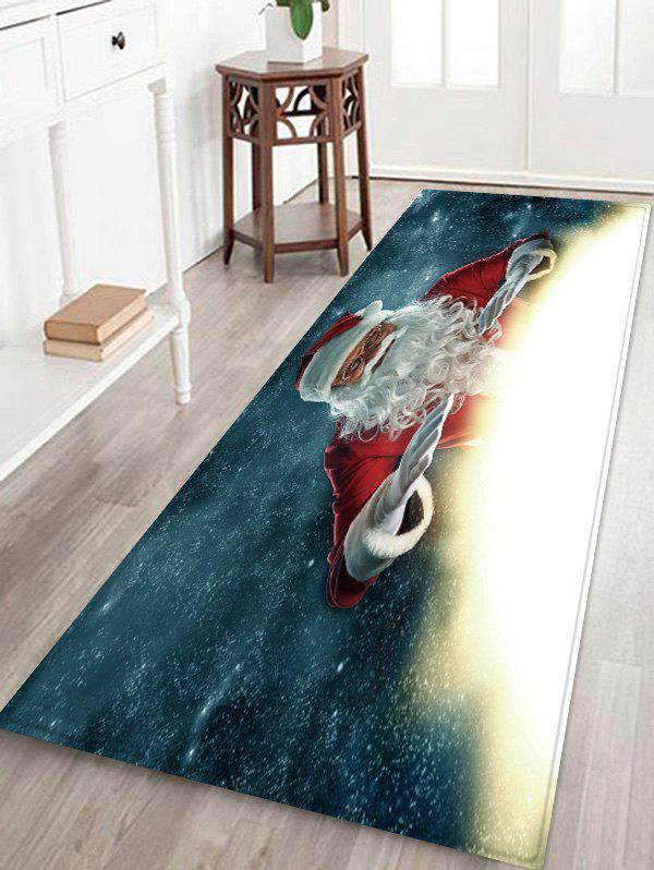 Christmas Santa Claus Pattern Water Absorption Anti-skid Area Rug - multicolor W24 X L71 INCH