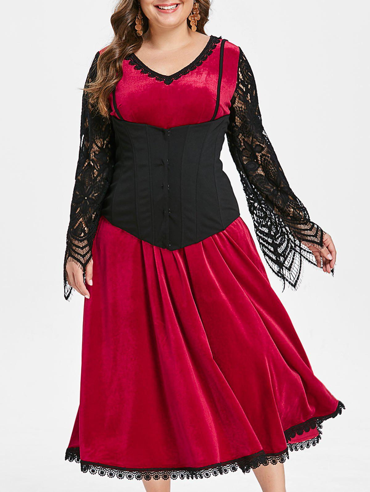 Halloween Lace Panel Midi Dress With Corset