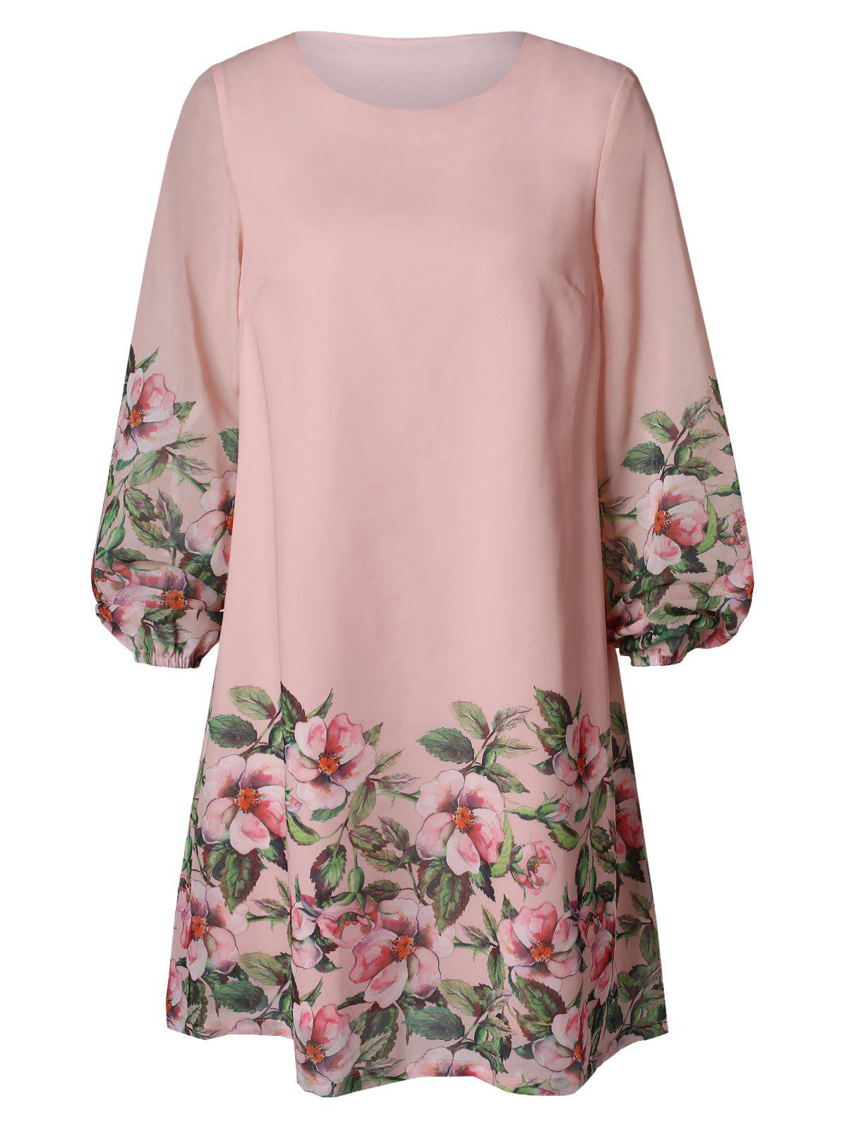 Floral Print Puff Sleeve Dress - LIGHT PINK M