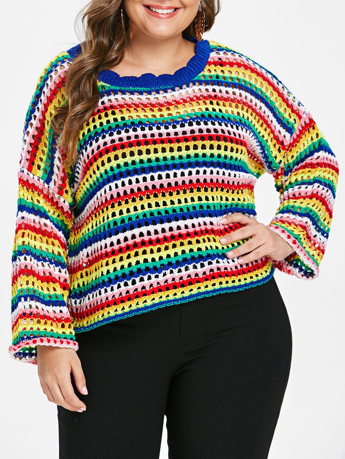 Plus Size Rainbow Color Sweater