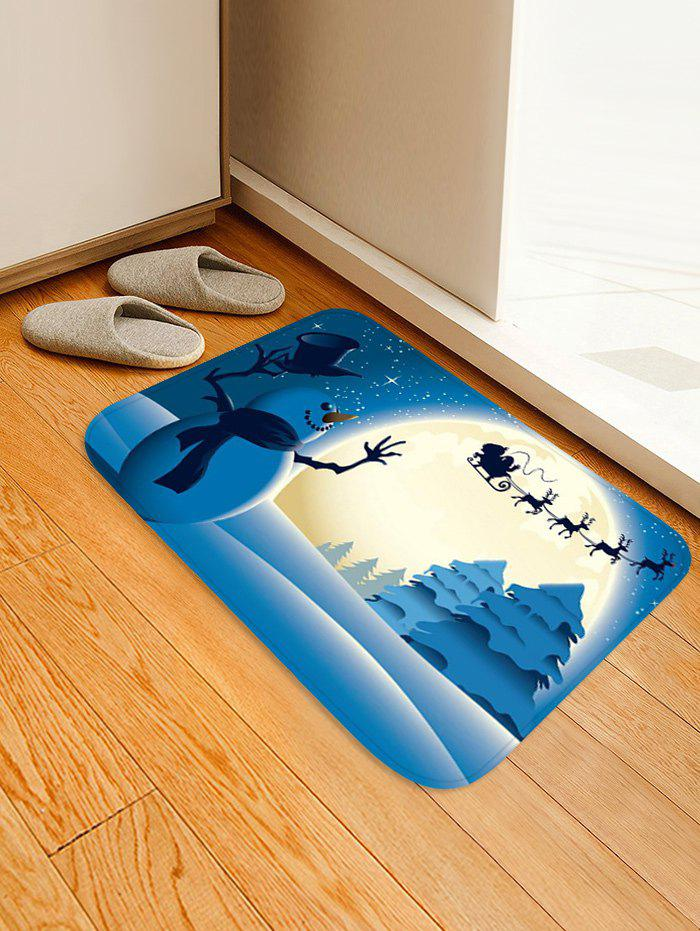 Christmas Night Snowman Pattern Water Absorption Area Rug - multicolor W16 X L24 INCH