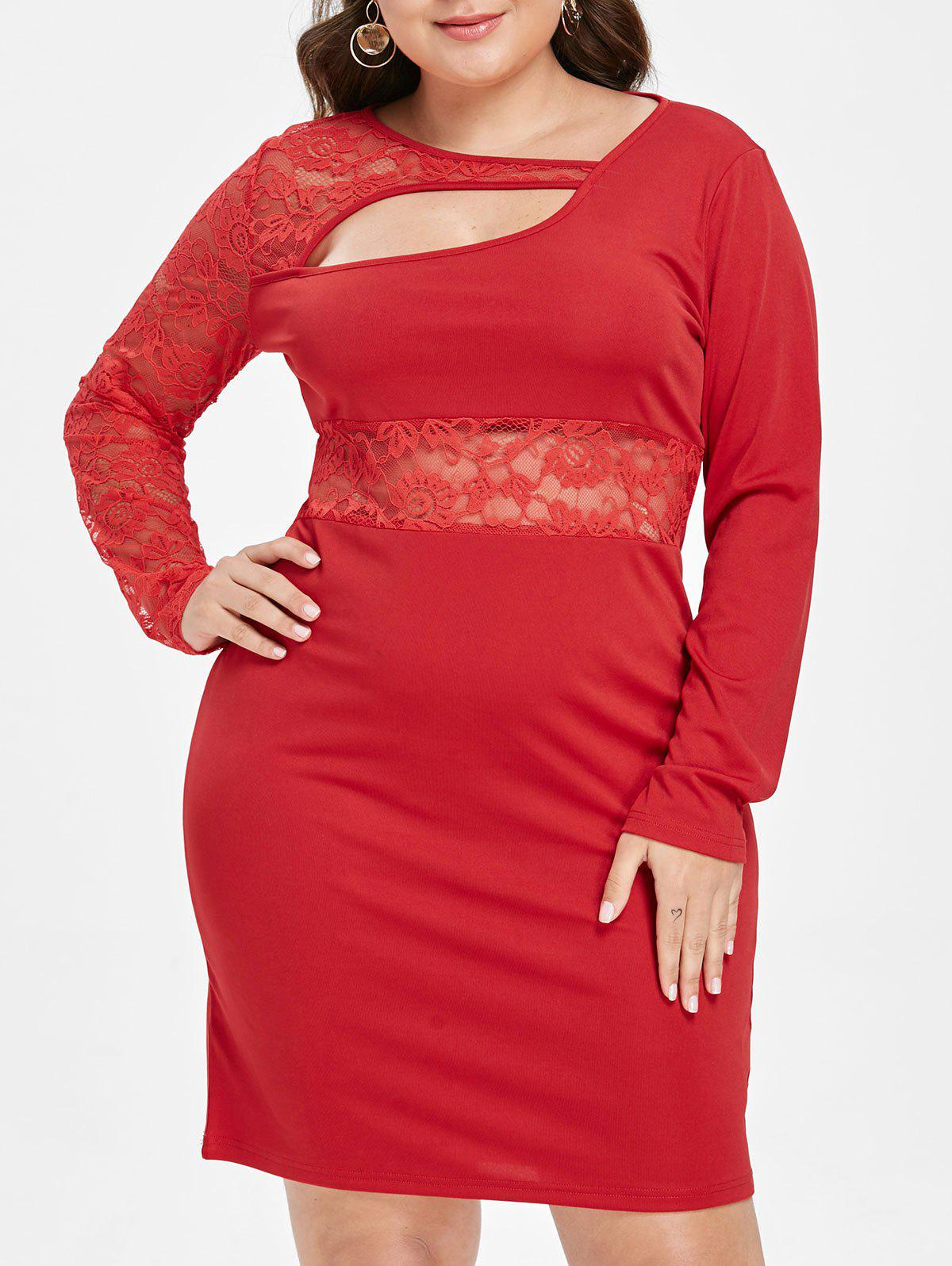 Plus Size Lace Panel Cutout Bodycon Dress - RED 1X