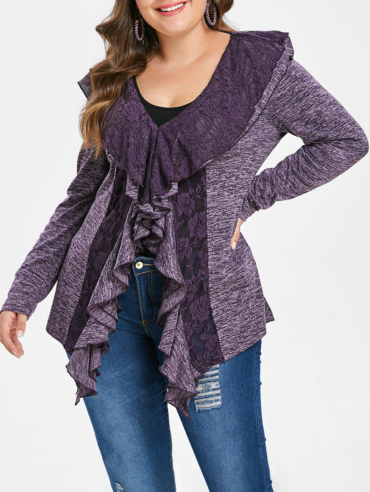 Plus Size Lace Trim Ruffle V Neck T-shirt - PURPLE L