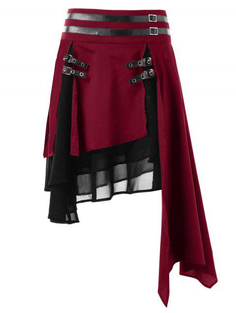 Contrast Asymmetrical Layered Skirt - RED WINE M