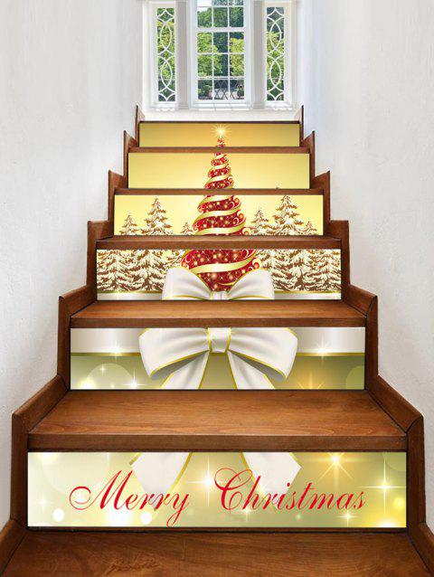 Christmas Tree Forest Pattern Stair Stickers - multicolor 6PCS X 39 X 7 INCH( NO FRAME )