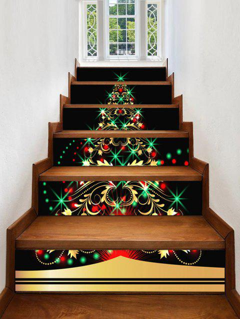 Christmas Tree Light Pattern Decorative Stair Stickers - multicolor 6PCS X 39 X 7 INCH( NO FRAME )