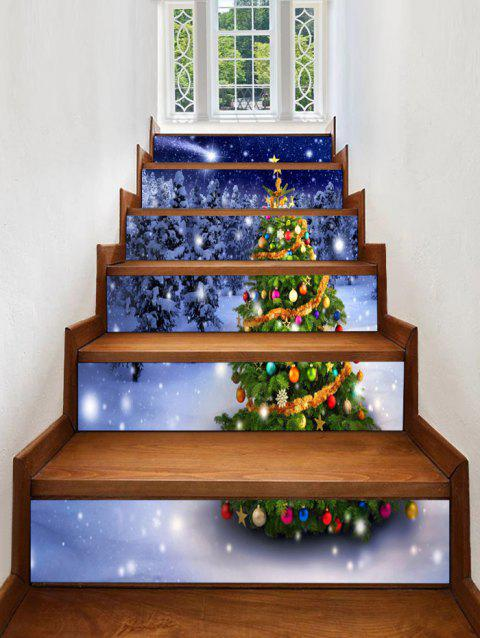 Christmas Tree Forest Pattern Decorative Stair Stickers - multicolor 6PCS X 39 X 7 INCH( NO FRAME )