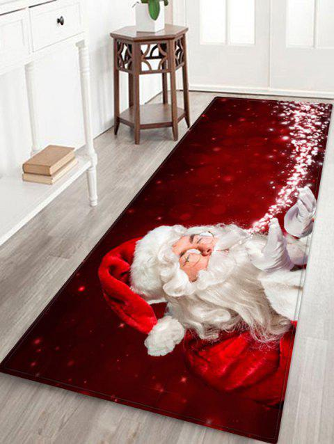 Magic Father Christmas Printed Floor Mat - CHERRY RED W24 X L71 INCH