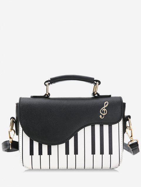 Piano Print Contrast Color Handbag - BLACK