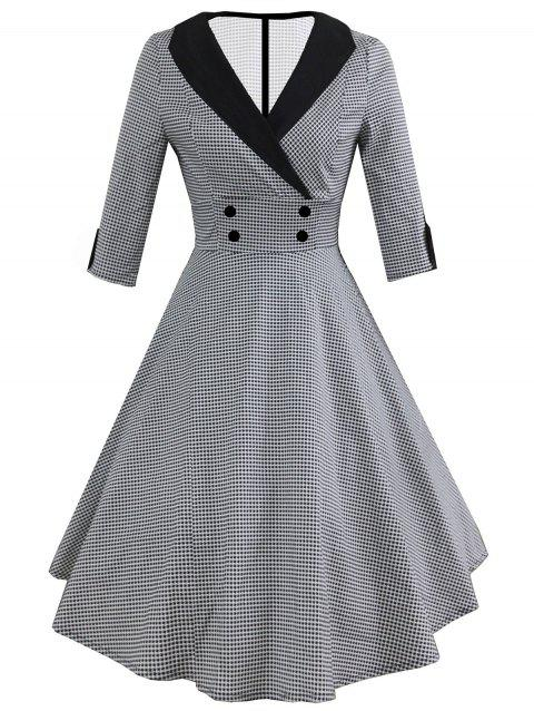 Vintage Shawl Collar Dotted Pin Up Dress - BLACK M