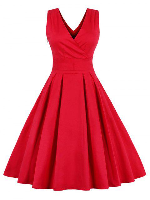 3788968d11e1 LIMITED OFFER  2019 Plus Size Surplice Neck Knee Length Dress In RED ...