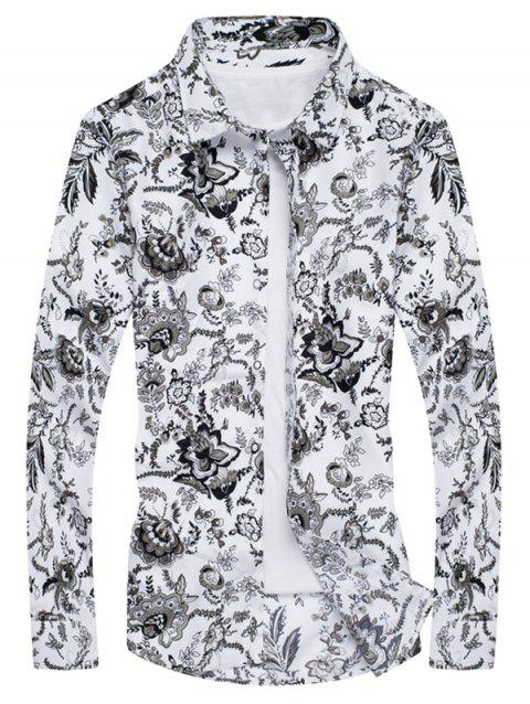 Floral Print Long Sleeves Slim Fit Shirt - WHITE S